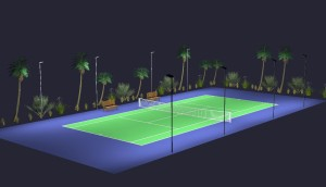 Single Tennis Court LED Lighting