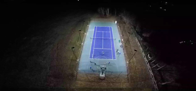 LSI XLCM 8 pole 8 fixture Tennis Lighting Setup, ITF Class 2 (300 Lux, 27 fc)